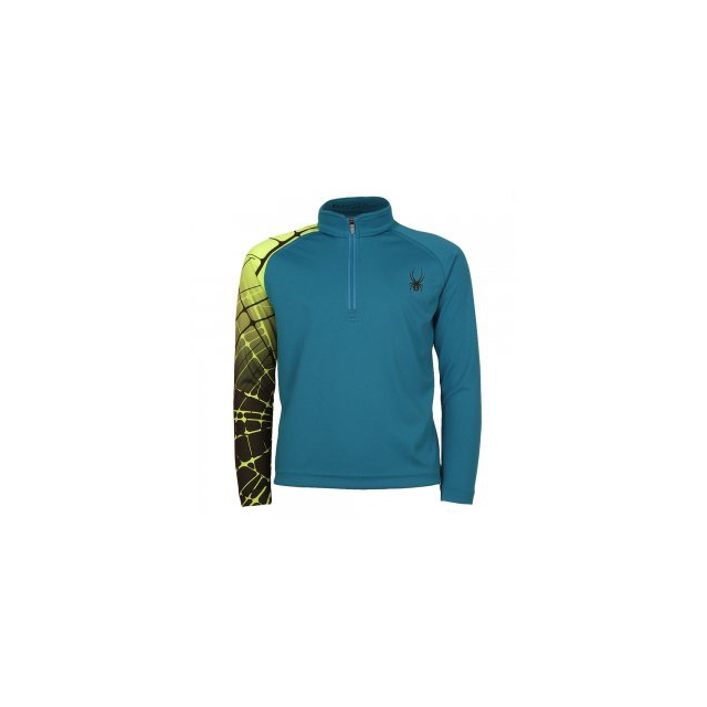Spyder - Mini Leader Dry Web Turtleneck Little Boys', Concept Blue/Bryte Green, XS