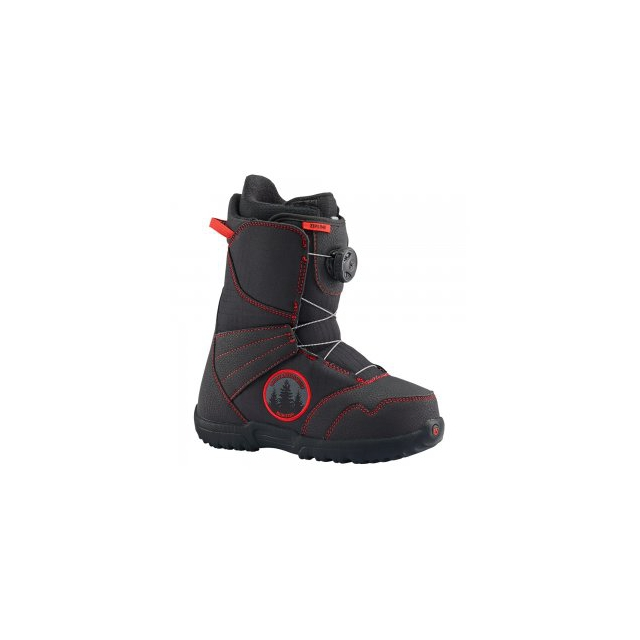 Burton - Zipline BOA Snowboard Boot Kids', Black/Red, 4