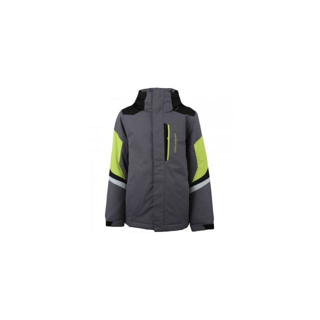 Obermeyer - Fleet Insulated Ski Jacket Boys', Graphite/Screamin Green, XS