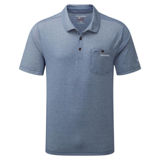 Craghoppers - Mens NosiLife Gilles Short Sleeved Polo - Closeout Light Dusk Blue Marl