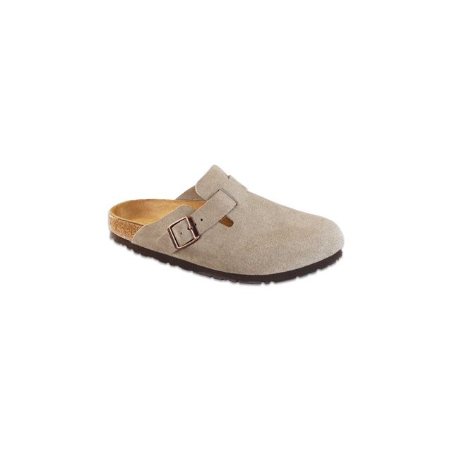 Birkenstock - Boston Taupe Suede Soft Footbed
