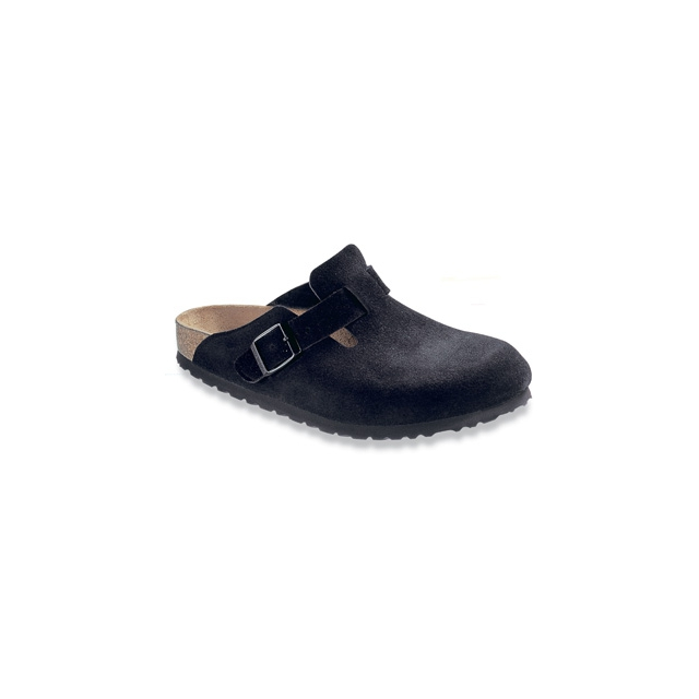 Birkenstock - Boston Black Suede Soft Footbed