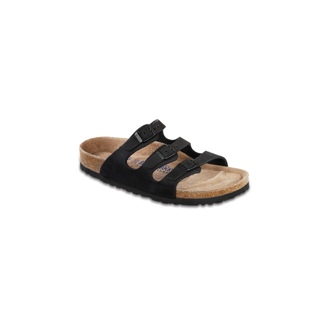 Birkenstock - Florida Black Nubuck Soft Footbed