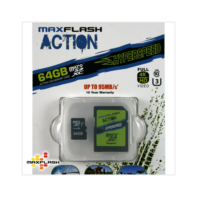Maxflash - Max-Flash 64GB MicroSDXC Hyperspeed Action Cam Memory Card with Adapter