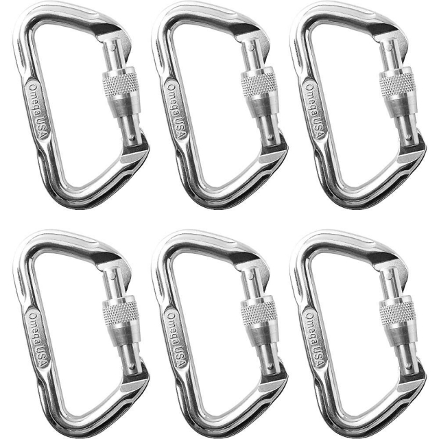 Omega Pacific - D Locking Carabiners - 6 Pack