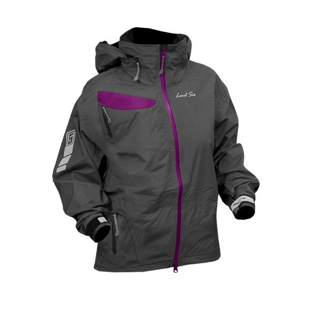 Level Six - - Air 2.5 Ply L/S Full Zip Jacket Women - X-Small - Charcoal/Violet