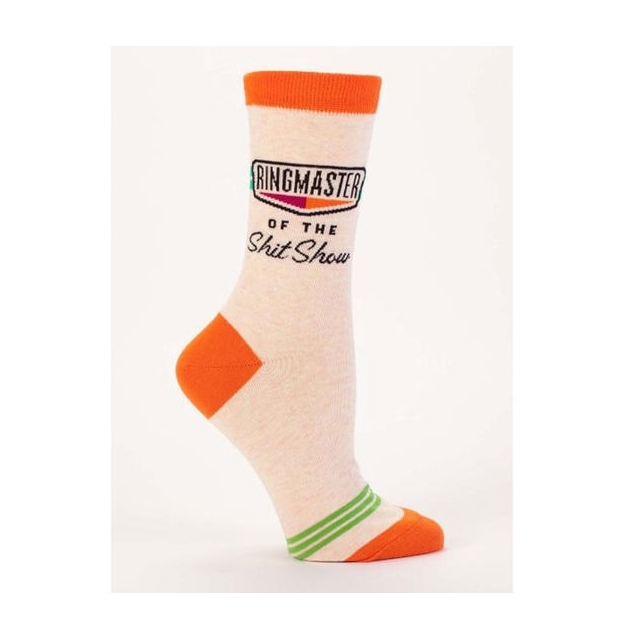 Blue Q Socks - Women's Ringmaster of the Shit Show Crew Socks
