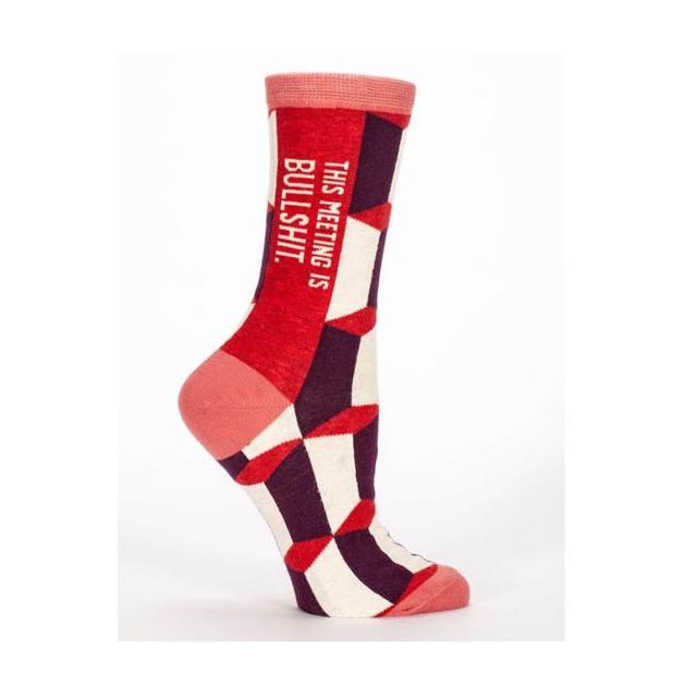 Blue Q Socks - Women's This Meeting is Bullshit Crew Sock