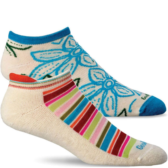 Goodhew - Awning Stripe/Full Bloom Socks -2 Pack Girls - Natural M/L