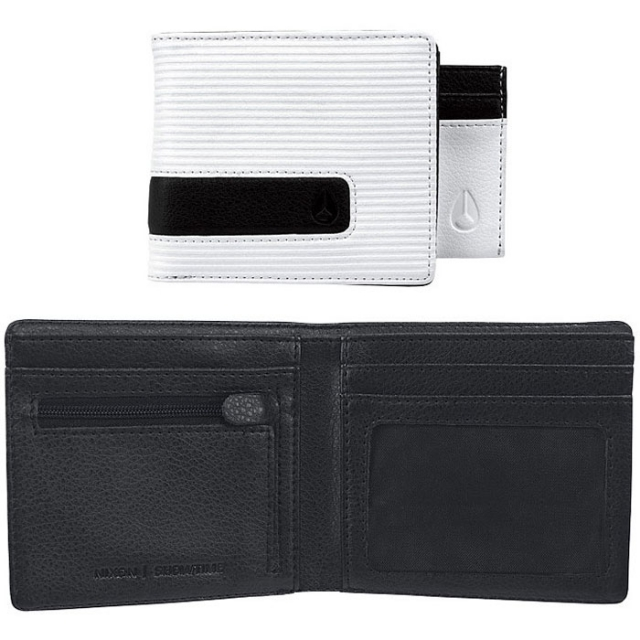 Nixon - Showtime Bi-Fold Id Zip Wallet Mens - White Fine Stripe