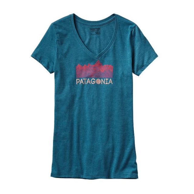 Patagonia - Women's Linear Fractures Cotton/Poly V-Neck T-Shirt