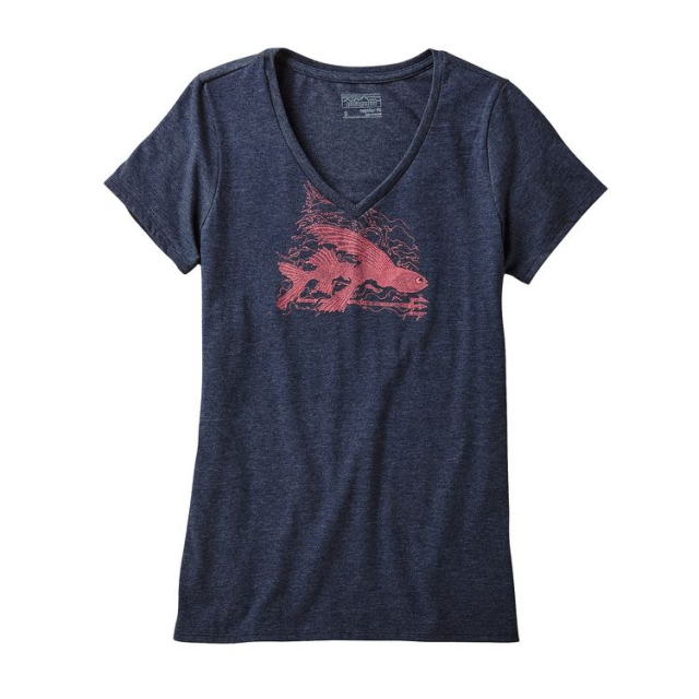 Patagonia - Women's Flying Fish Rapids Cotton/Poly V-Neck T-Shirt