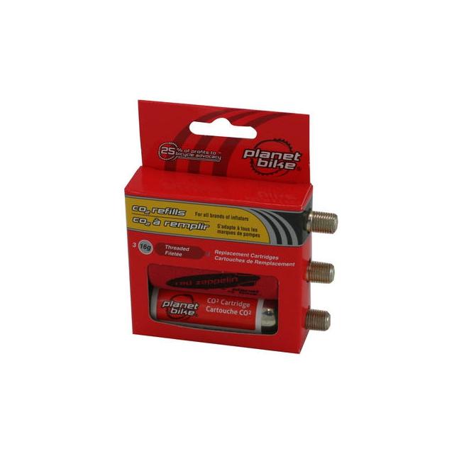 Planet Bike - 16-Gram CO2 Cartridge 3-Pack (Threaded)