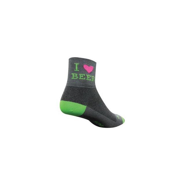 SockGuy - Heart Beer 3IN Cycling Sock - Green In Size