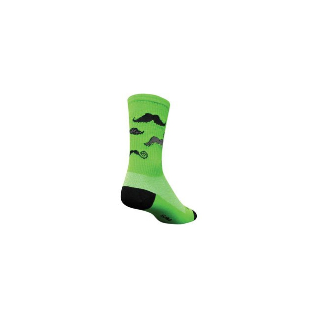 SockGuy - Head Strong Mustache Crew 6IN Cycling Sock - Green In Size