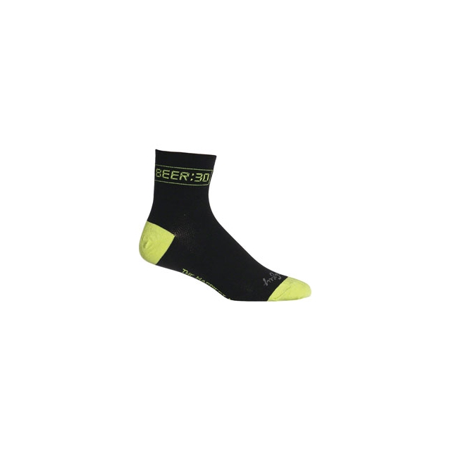 SockGuy - Classic 3IN Beer:30 Cycling Sock - Black In Size