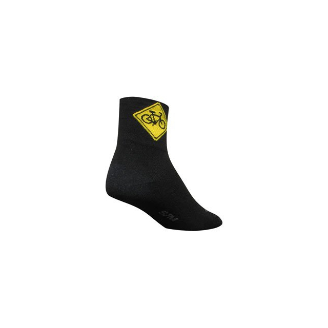 SockGuy - Share the Road 3IN Cycling Sock - Black In Size