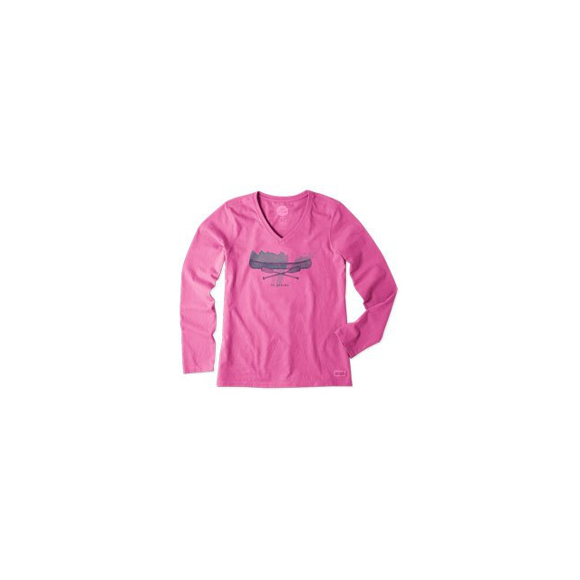 Life Is Good - Engraved Canoe Long Sleeve Crusher Vee - Women's - Hot Fuchsia In Size: Medium