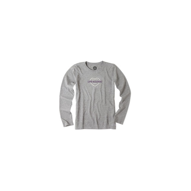 Life Is Good - Feel The Love Long Sleeve Crusher Tee - Women's - Heather Grey In Size: Small
