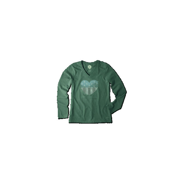 Life Is Good - Engraved Heart Tree Flag Long Sleeve Crusher Vee - Women's - Hunter Green In Size: Small