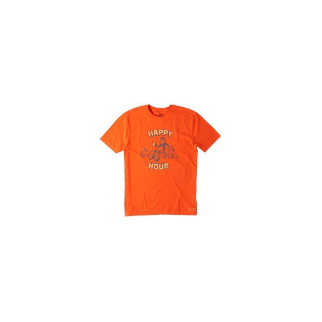 Life Is Good - Happy Hour Log Short Sleeve Crusher Tee - Men's - Flame Orange In Size: Medium
