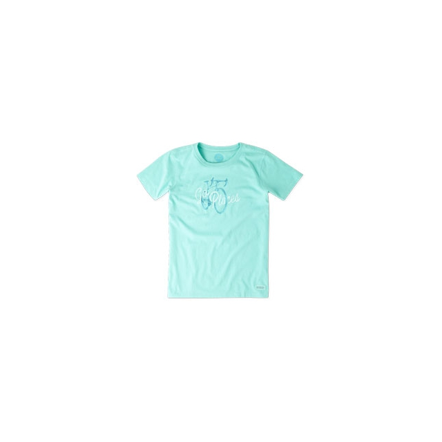 Life Is Good - Go Places Bike Short Sleeve Crusher Tee - Women's - Cool Aqua In Size: Medium