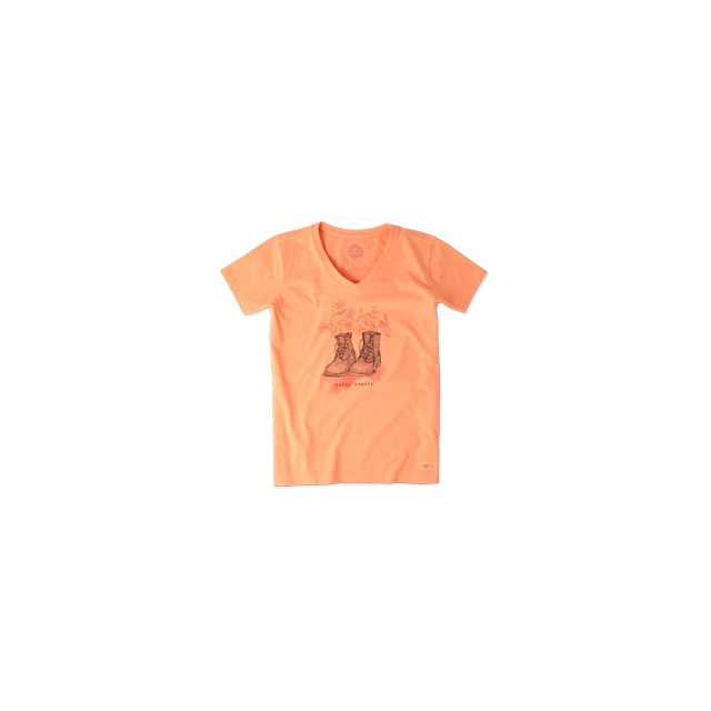 Life Is Good - Happy Trails Boots Short Sleeve Crusher Vee - Women's - Fresh Peach In Size: XXL