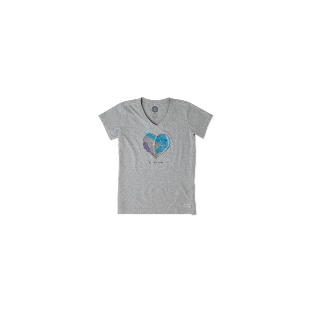 Life Is Good - Engraved All We Need Heart Crusher Vee Tee - Women's - Heather Grey In Size: Small