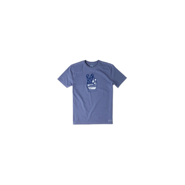 Life Is Good - Peace Hand Short Sleeve Crusher Tee - Men's - Anchor Blue In Size: Large