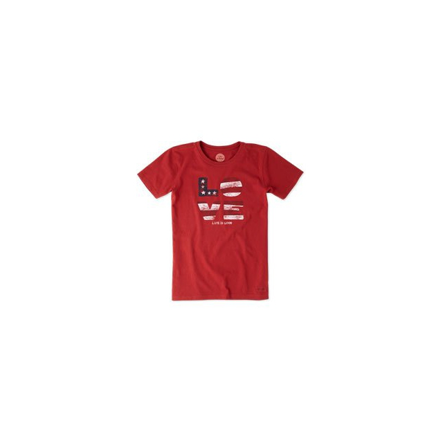 Life Is Good - Love Flag Short Sleeve Crusher Tee - Women's - Flag Red In Size: Small