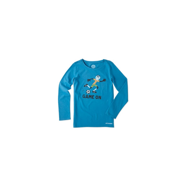 Life Is Good - Elemental Game On Soccer Long Sleeve Tee - Girl's - Denim Blue In Size