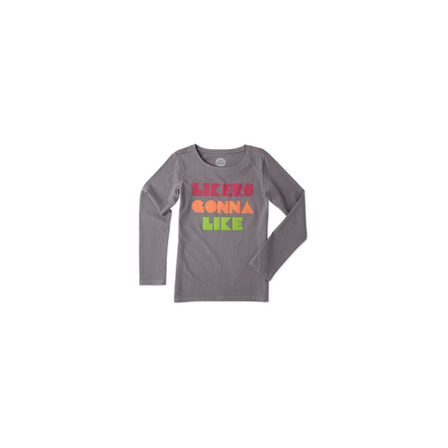 Life Is Good - Likers Gonna Like Long Sleeve Tee - Girl's - Slate Grey In Size