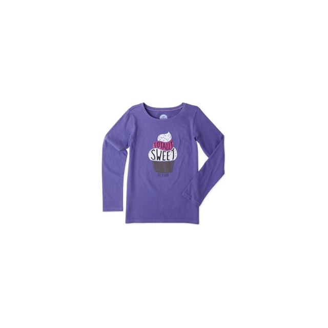 Life Is Good - Sweet Cupcake Long Sleeve Tee - Girl's - Blue Violet In Size