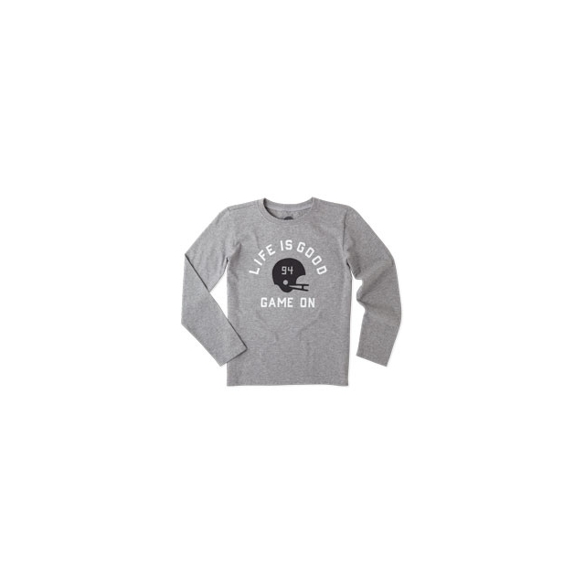 Life Is Good - Game On Helmet Long Sleeve Tee - Boy's - Heather Grey In Size