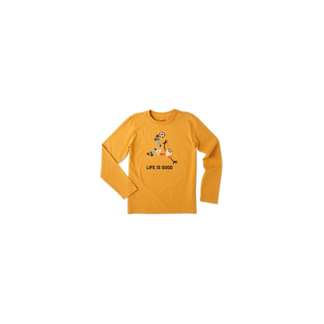 Life Is Good - Jake Soccer Long Sleeve Tee - Boy's - Artisan Gold In Size