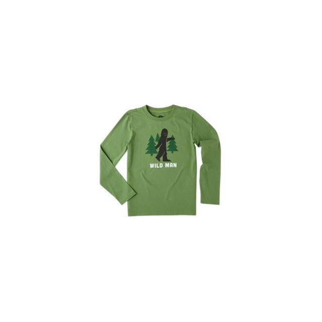 Life Is Good - Wild Man Bigfoot Long Sleeve Tee - Boy's - Treetop Green In Size: Small
