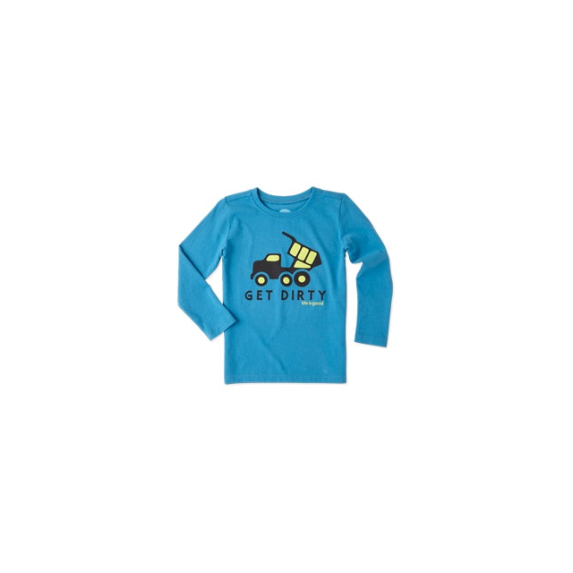 Life Is Good - Boys Get Dirty Truck Long Sleeve Tee - Toddler - Denim Blue In Size