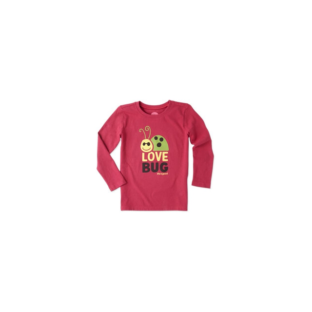 Life Is Good - Girl's Elemental Love Bug Long Sleeve Tee - Toddler - Rose Berry In Size