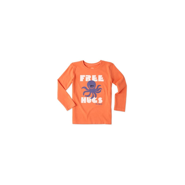 Life Is Good - Girls Octopus Hugs Long Sleeve Tee - Toddler - Coral Orange In Size