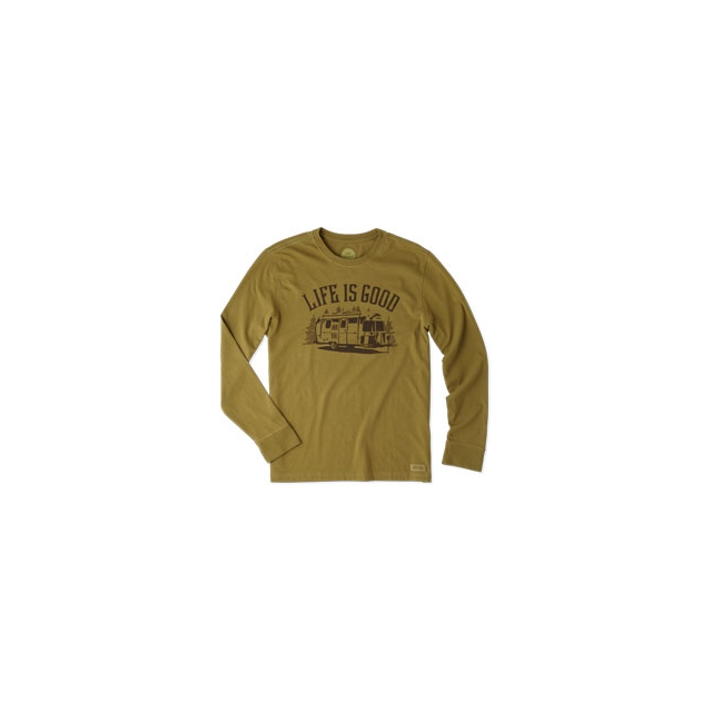 Life Is Good - LIG Airstream Long Sleeve Crusher Tee - Men's - Woodland Green In Size