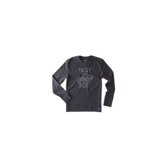 Life Is Good - Enjoy The Ride Long Sleeve Crusher Tee - Men's - Night Black In Size