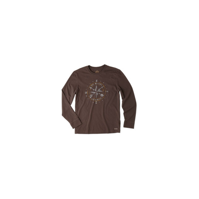 Life Is Good - Go Places Compass Crusher Long Sleeve Tee - Men's - Darkest Brown In Size: Medium