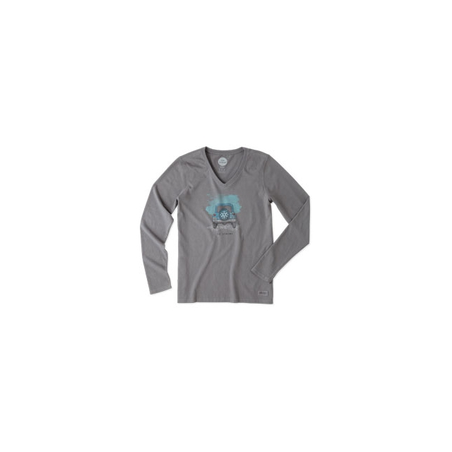 Life Is Good - Go Places Jeep Crusher Vee Long Sleeve Tee - Women's - Slate Grey In Size: Extra Large