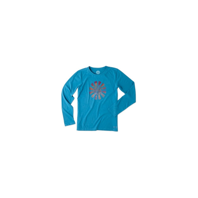 Life Is Good - Hello Sunshine Long Sleeve Crusher Tee - Women's - Denim Blue In Size