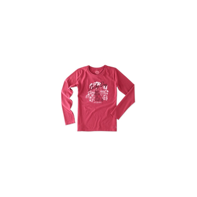 Life Is Good - Lucky Dog Hibiscus Long Sleeve Crusher Tee - Women's - Rose Berry In Size: Small