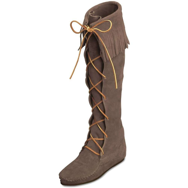 Minnetonka - Women's Front Lace Hardsole Knee Hi Boot