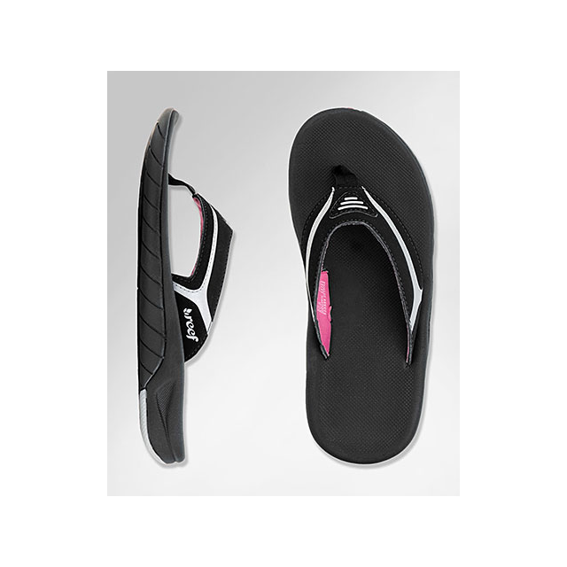 Reef - Girl's Slap 2, Black-Silver-Pink, 10