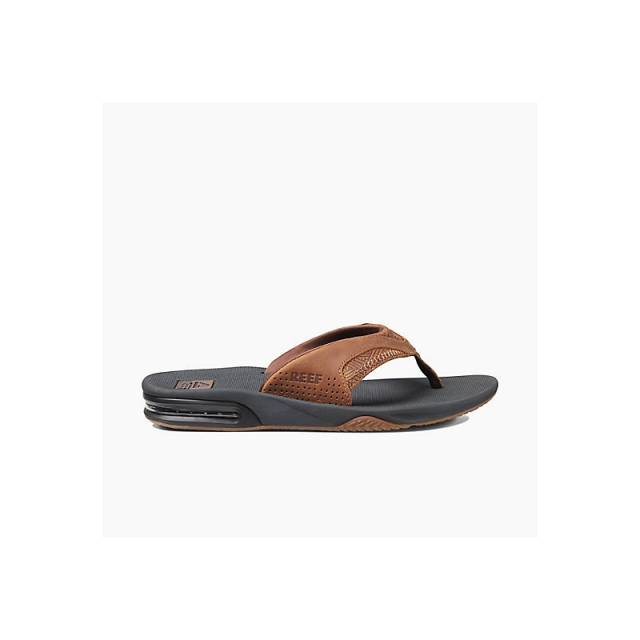 Reef - Mens Leather Fanning - Closeout Brown Tweed 12