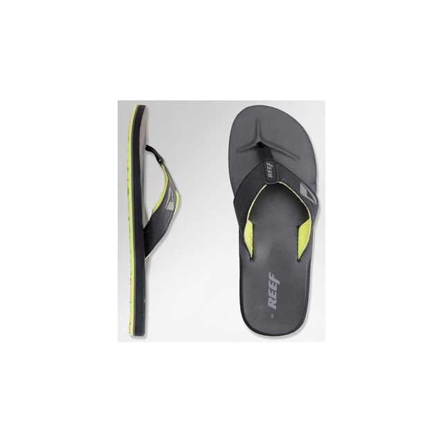 Reef - HT Flip Flop - Men's-Black/Lime Green-10