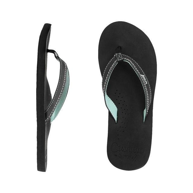 Reef - Stitched Cushion Sandals - Women's: Black/Mint, 5